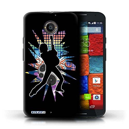 Kobalt® Imprimé Etui / Coque pour Motorola Moto X (2014) / Atteindre Blanc conception / Série Rock Star Pose Pencher Noir