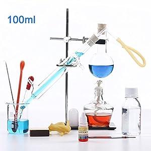 100 ml Nuevo Lab Aceite esencial destilación Aparato destilador de agua purificador Kits de cristalería con Embudo…