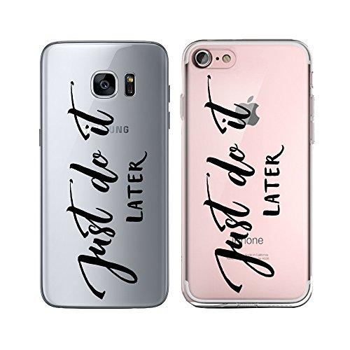 Original Lanboo® Silikon Case Für iPhone 6 / 6s #4 Motiv 7 - Design Druck Leben Spruch Schriftzug Weisheit Sinn - Hülle Cover Tasche Etui Schale - Just do it LATER - FAULPELZ - Schwarz