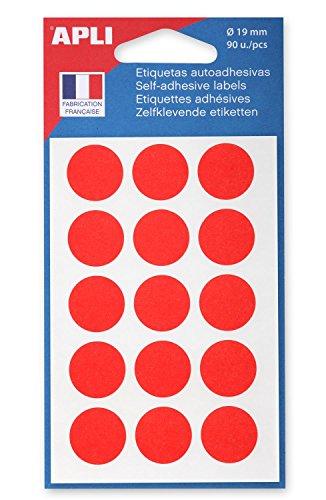 AGIPA Lot de 3 Sachets de 90 Pastilles de signalisation rondes Gommettes 19 mm Rouge