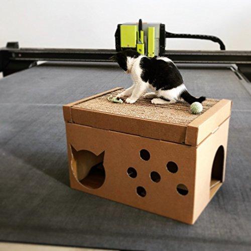 Scatolificio crippa - cuccia per gatto ecologica in cartone con tiragraffi, 49x34x26 cm - made and designed in italy