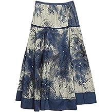 Feoya Étnico Falda Larga Casual Estampado Floral Bohemia Maxi Skirt para Verano Playa Viaje para Mujeres