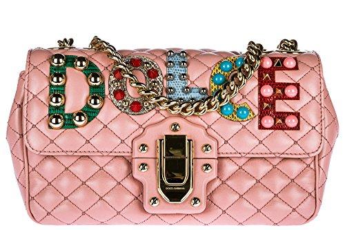 Dolce & Gabbana Schultertasche Leder Damen Tasche Umhängetasche Bag lucia rosa