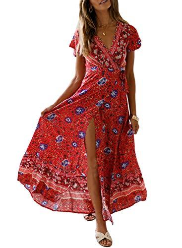 Dokotoo Femme Longue Robe Bohème Robe de Plage Élégant Imprimé Floral Maxi Robe Soleil Sexy Col V Manche Courte Vintage Robe de Soirée Cocktail Tunique Eté 2019