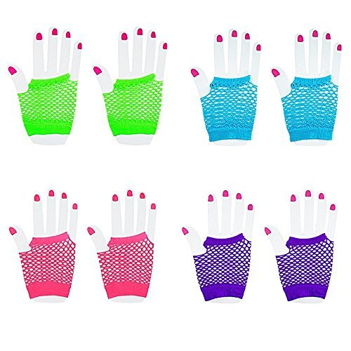guanti rete senza dita Novelty Place [Neon Gloves Fingerless Diva Fishnet Wrist Gloves Assorted Neon Colors (12 Pairs)