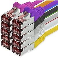 freiwerk Cable de Red Cat.6 1m 10 Colores Cable Ethernet Lankabel Cat6 LAN Cable de Red Sftp Pimf Patch Cable 1000 Mbit s Compatible con Cat5 Cat5e Cat6a Cat7 Cat8