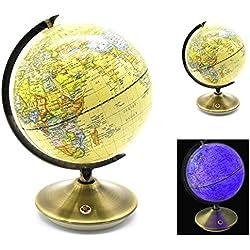 EXERZ 21 CM Globo Terráqueo y de Constelación Antiguo (2 en 1) / Globo Terráqueo / Globo Terráqueo/ con Base Metálica – iluminado - Para Decorar la Casa / Accesorio - Diámetro de 21 CM