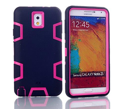 Samsung Galaxy Note 3 N9000 Hülle, Forhouse Ultra Slim [TPU + PC][Dual Layer][Roboter-Muster] Schutzhülle [Anti-Rutsch-] Shock-Absorption-Abdeckung für Samsung Galaxy Note 3 N9000 (Schwarz + Pink) (Galaxy Note 3 Fall Roboter)