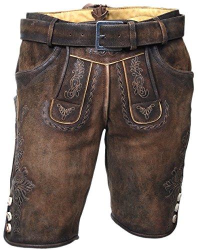 MADDOX Kurze Herren Lederhose, mit Gürtel, echtes Wildbockleder, Trachten-Lederhose, braun, alle Größen (54)