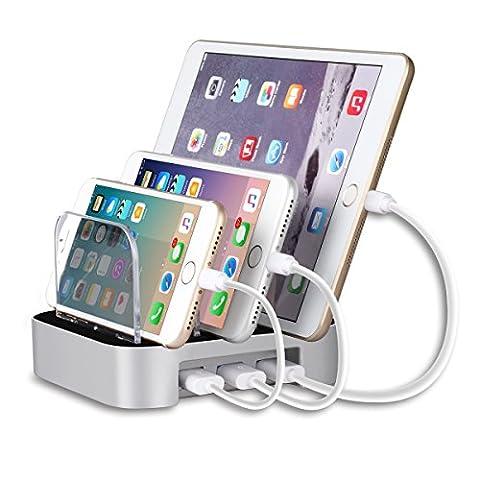 MixMart Station de Recharge 3 Ports USB [5V/3,4A Total] Chargeur Intercalaire avec Plaque Amovible pour Smartphones, Tablettes et d'autres Appareils USB