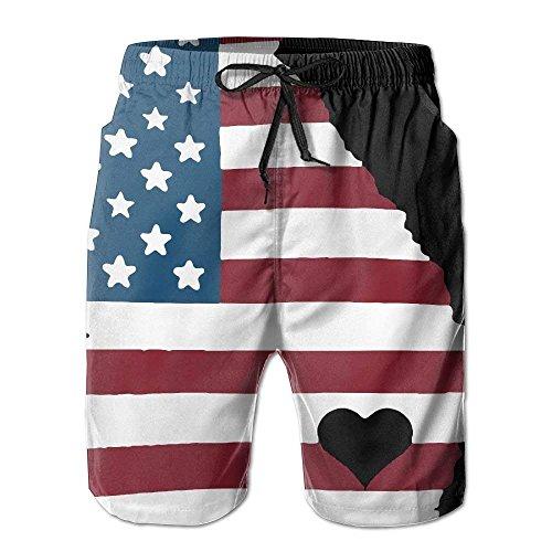 Georgia Love Home State US-Flagge Herren Sommer Casual Shorts Badehose mit Taschen, Größe L