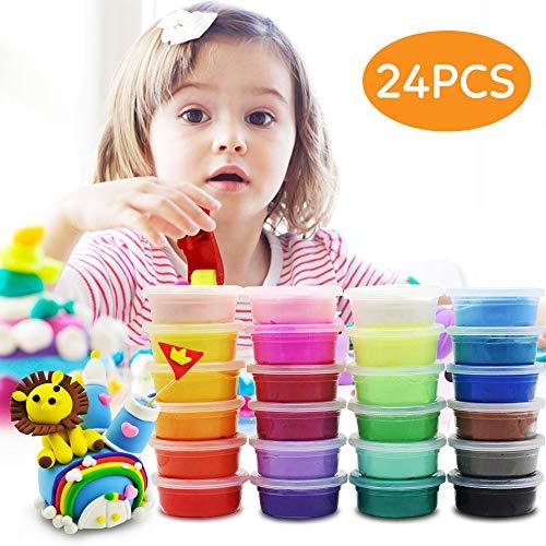 Kinderknete, Korostro Springknete Hüpfknete Knete Kinder Mitgebsel für Kindergeburtstag Kinder DIY Handgemachtes Lernen - 24 Farben