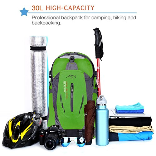 HWJIANFENG Zaini 30L Sportivi Unisex in Nylon Poliestere da Trekking Borse per Outdoor Campeggio Escursionismo Viaggi Verde