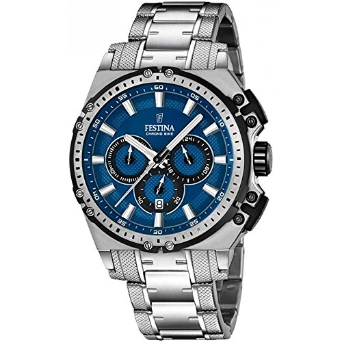 Festina CHRONO BIKE 2016 Men's Quartz Watch with Blue Dial Chronograph Display and Silver Stainless Steel Bracelet F16968/2