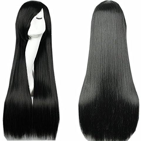 S-noilite® 80cm Cosplay Perücke Langhaarperücke Schwarz Glatt lang voll Wig Parti Kostüm