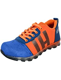 RED RIVIN Men's Orange And Blue Synthetic Running Shoes - 8 UK