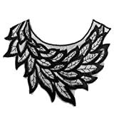 Fashion Leaves Stickerei Spitze Applikation Kragen Frauen Kleidung DIY Nähen Decor – Black Collectsound