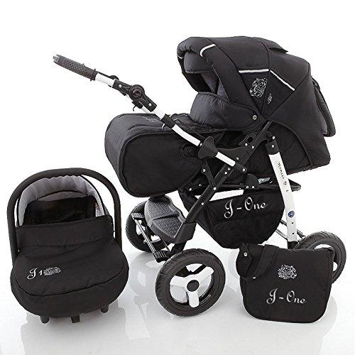 Chilly Kids J1 Kombikinderwagen Safety-Set (Autositz & ISOFIX Basis, Regenschutz, Moskitonetz) 04 Black Shadow
