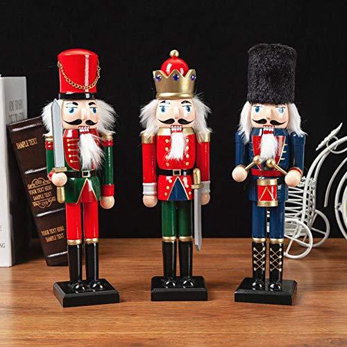 jaspenybow 3 stücke Weihnachten Holz Nussknacker Soldat Schmuck, Weihnachtsdekoration Dekoration Fenster Requisiten Handwerk Desktop Dekoration Dekoration - Kinder