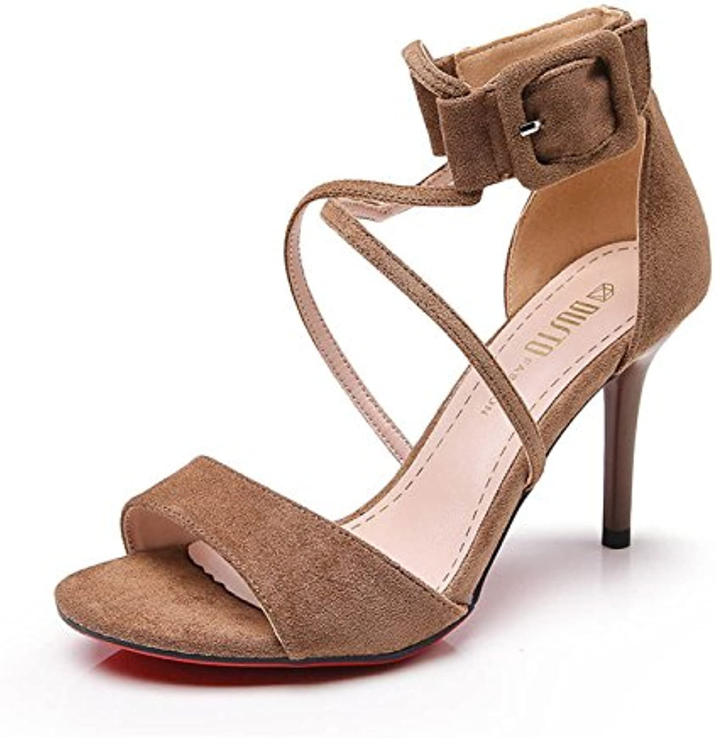 GTYW Party Damen Sandalen Riemchen High Heels Schlanke Sandalen TPU Offene Spitze Damenschuhe High HeelsBrown-37