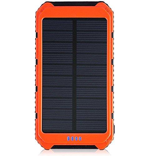 AOKARLIA Chargeur Solaire Portable Power Bank 15000Mah Batterie Usb Externe Avec Led Pour Iphone, Galaxy S7 S6 S5 Sony, Htc Et La Plupart Des TéLéPhones Intelligents , Orange