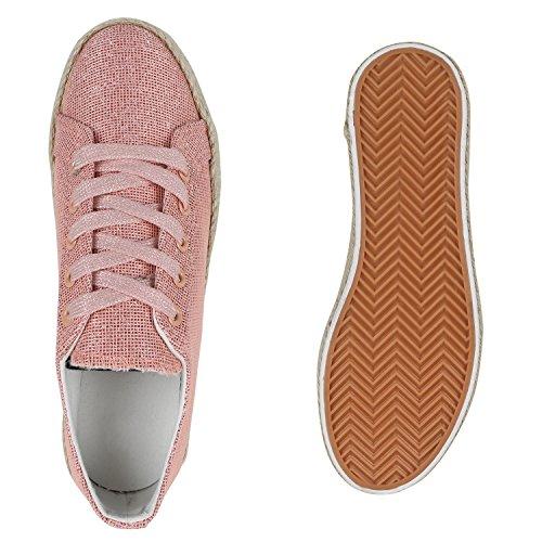 Damen Plateau Sneaker | Prints Metallic | Plateauschuhe 90s Look | Sneakers Stoffschuhe | Schnürer | Prints Blumen Lack Glitzer Rose Gold