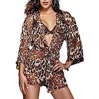 Intimo Leopardo Chiffon Abito Accappatoio Donne Pajamas Bikini Outfits 3