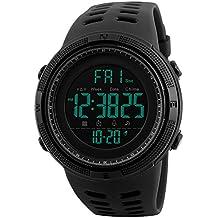Relojes Deportivo Digital Para Hombres Adolescentes y Niño 50m Impermeable Cuenta Regresiva Cronómetro Dial Grande Militar Reloj de Digital Para Hombre Multifunción Casual Reloj de Pulsera Negro