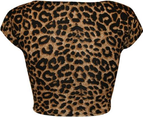 WearAll - Imprimé crop t-shirt top à manches courts - Hauts - Femmes - Tailles 36 à 42 Brun Leopard