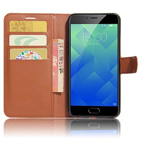 GARITANE Meilan 5/Meizu M5 Hülle Case Brieftasche mit Kartenfächer Handyhülle Schutzhülle Lederhülle Standerfunktion Magnet für Meilan 5/Meizu M5 (Braun)