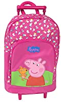 Peppa Pig Official Trolley Bag Girls Hot Pink Wheeled Travel Backpack/Rucksack with Telescopic Handle & Padded Adjustable Shoulder Straps for Short Breaks, Holidays, Sleepovers and School Trips