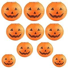 Idea Regalo - Kesote Halloween Lanterna di Carta 10 Lanterne con Designo di Zucca Lanterne di Diverse Dimensioni (6