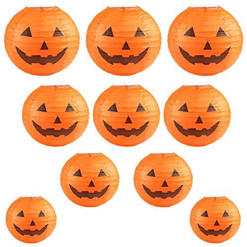 """KESOTO Halloween Lampions Kürbis Set, 10 Stück Hängedekoration für Halloween Party (6""""+ 8""""+10""""+12"""")"""