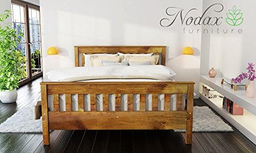 "Wooden Pine King Size Bed Frame""F16"" (UK King 150 x 200 cm Oak finish)"
