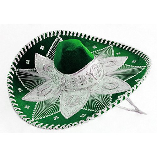 Green and White Mariachi Sombrero by Unknown