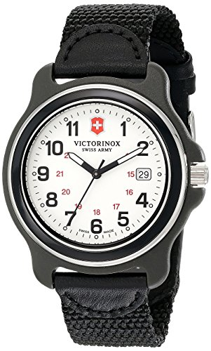 Victorinox 249086- Reloj de Hombre, Esfera analógica Original XL de Movimiento de Cuarzo Suizo, Color Negro
