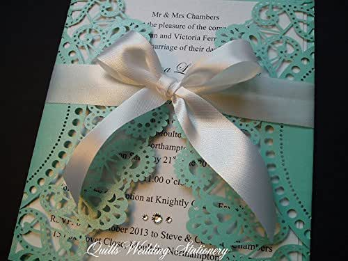 Lace Effect Wedding Invitation In Tiffany Blue Wrapped With White Satin Ribbon Embellished With Swarovski Crystals Amazon Co Uk Handmade