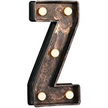 MiniSun – Decorativa letra luminosa 'Z' con 8 luces LED blancas cálidas, de estilo vintage y efecto cepillado