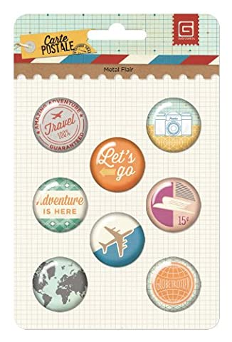 Carte Postale Metal Button Flair Stickers 8/Pkg-