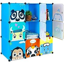 Bamny Meuble Rangement Enfant 9 Cubes, Support de Rangement pour Vêtements, Chaussures, Armoire de Rangement Bricolage avec 1 Portemanteaux et Motifs d'animaux (Bleu)