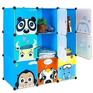 BAMNY Kinderzimmer Kleiderschrank, Aufbewahrungsregal für Kleidungen Schuhe Spielzeuge, DIY Steckschrank mit 1 Kleiderstangen und Tieren Motiven (Blau)