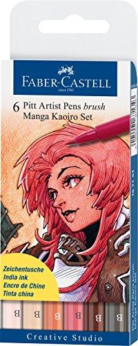 Faber-Castell 167134 – Pack de 6 rotuladores para dibujo Manga Pitt Kaoiro