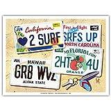 Nummernschilder - Surf-Kultur-Eitelkeits-Kennzeichen von Scott Westmoreland - Kunstdruck - 23cm x 31cm