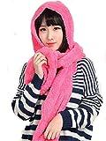 Ducomi GeekChic- Luxury Designer Schal Hut Handschuhe aus Thermofleece - Geschenkset für Nail Art, rosa