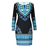 Fami Femmes traditionnelle africaine Imprimer Dashiki Bodycon Sexy robe à ...