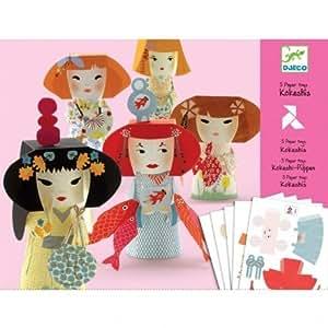 Djeco - Pliage collage papier poupées japonaises Kokeshis Djeco Enfant filles 9 à 15 ans