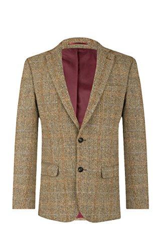 Harris Tweed by Dobell Herren Braunes Windowpane Tweed Anzugjackett 2 Knöpfe, Braun, 28 - - Knopf-manschette-wolle Blazer