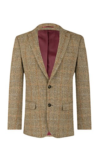 Veste de Costume Harris Tweed par Dobell Homme en Tweed Marron à Carreaux - 2 Boutons, Marron, 56 Standard