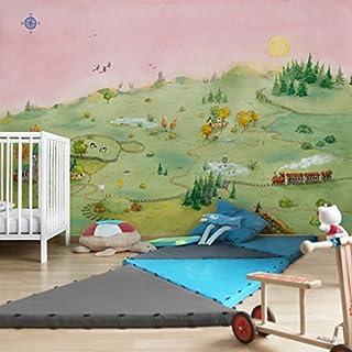 Apalis Kindertapeten Vliestapeten Fridas Welt Fototapete Breit | Vlies Tapete Wandtapete Wandbild Foto 3D Fototapete für Schlafzimmer Wohnzimmer Küche | grün, 94650