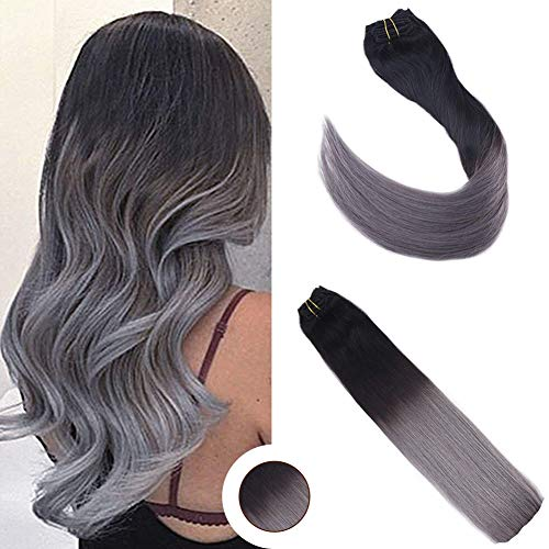 Ugeat 24 Zoll #1b/Silver Clip in Extensions Echthaar Gunstig Brasilianisch Glatt Voller Kopf Clip on Tressen Echthaar Extensions 60cm 120g/7pcs per Set